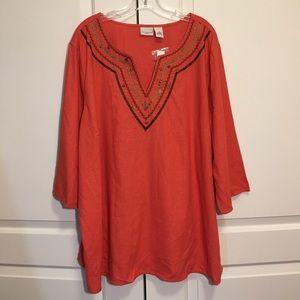 NWT Kim Rogers Red Lanter Linen Rayon Blouse